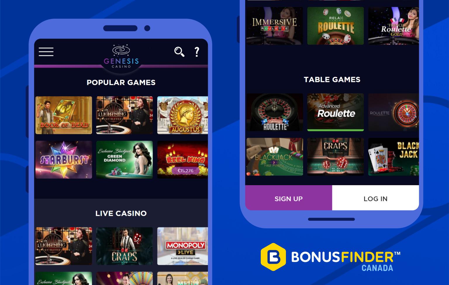 genesis casino jeux