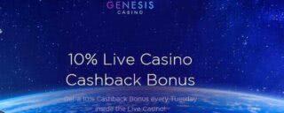 Remise de 10 % jusqu'à 200$ sur le casino live de Genesis Casino