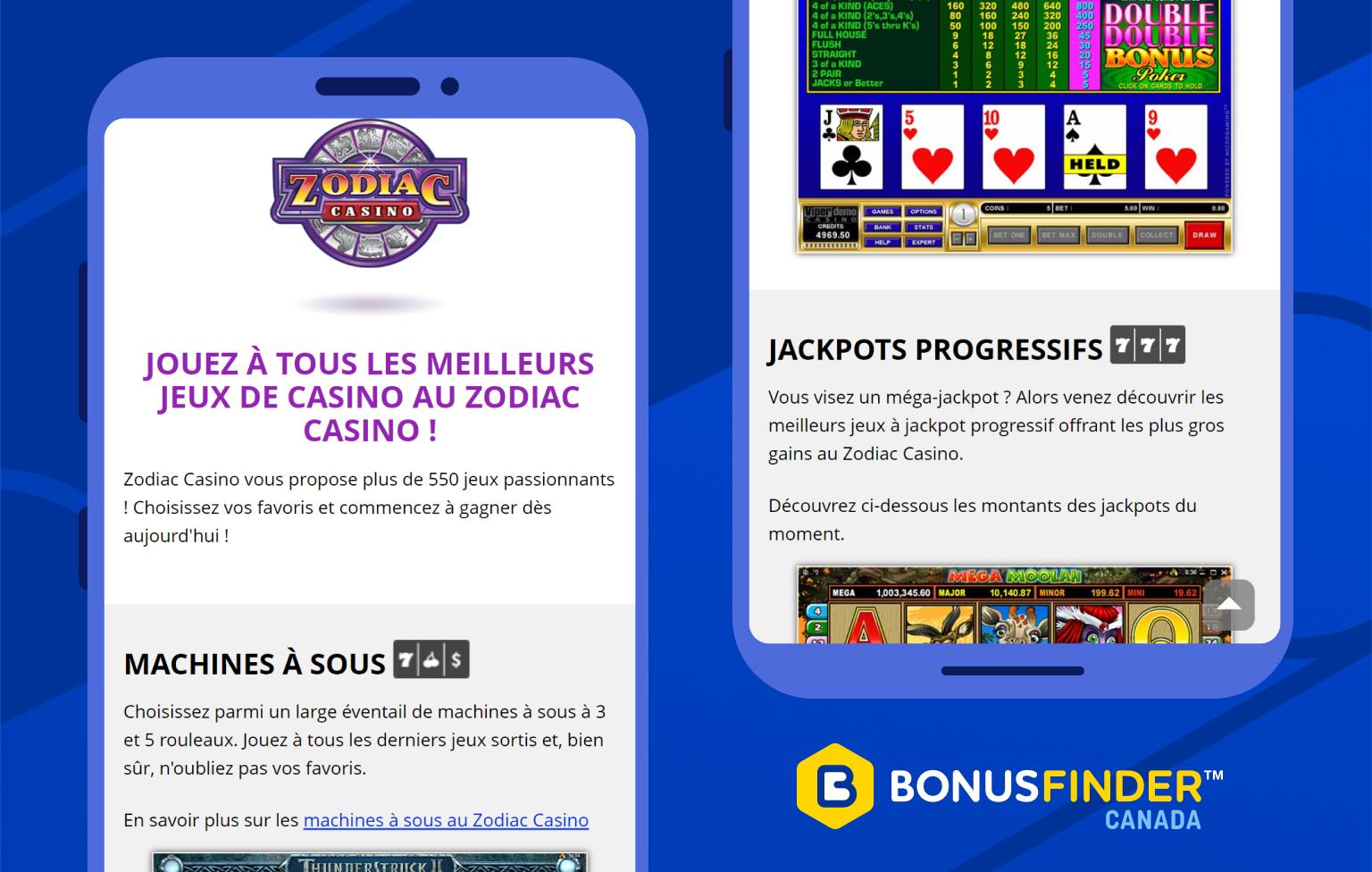 zodiac casino jeux