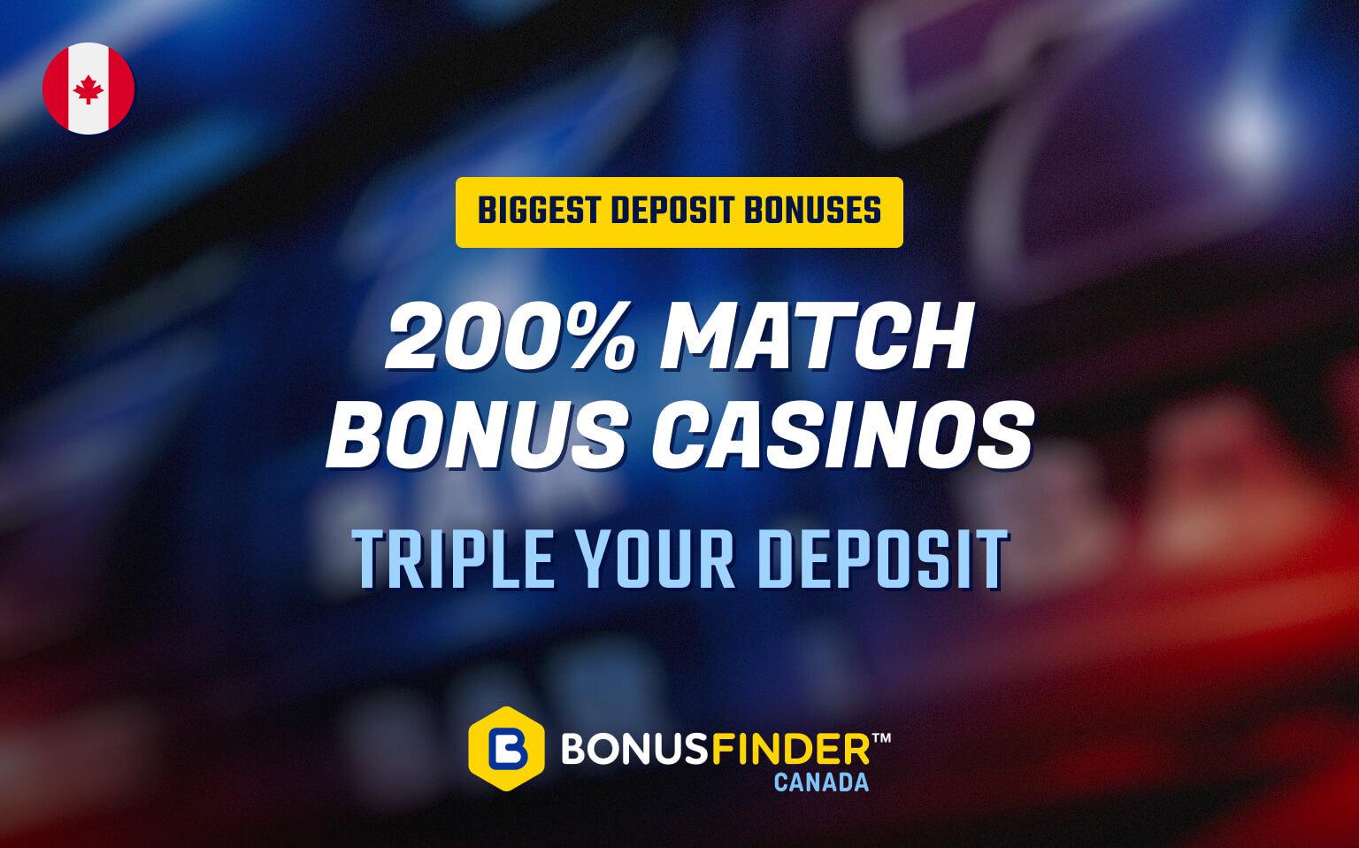 200% match bonus casino Canada
