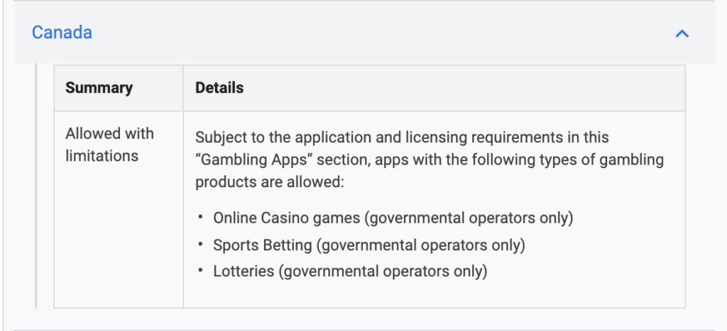 Screenshot of Google Play Store Gambling App Policy in Canada