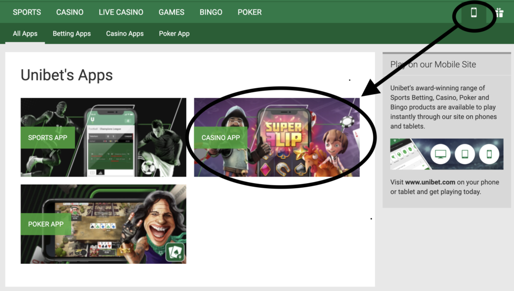 Screenshot of Kindred Group's Unibet casino android app instructions