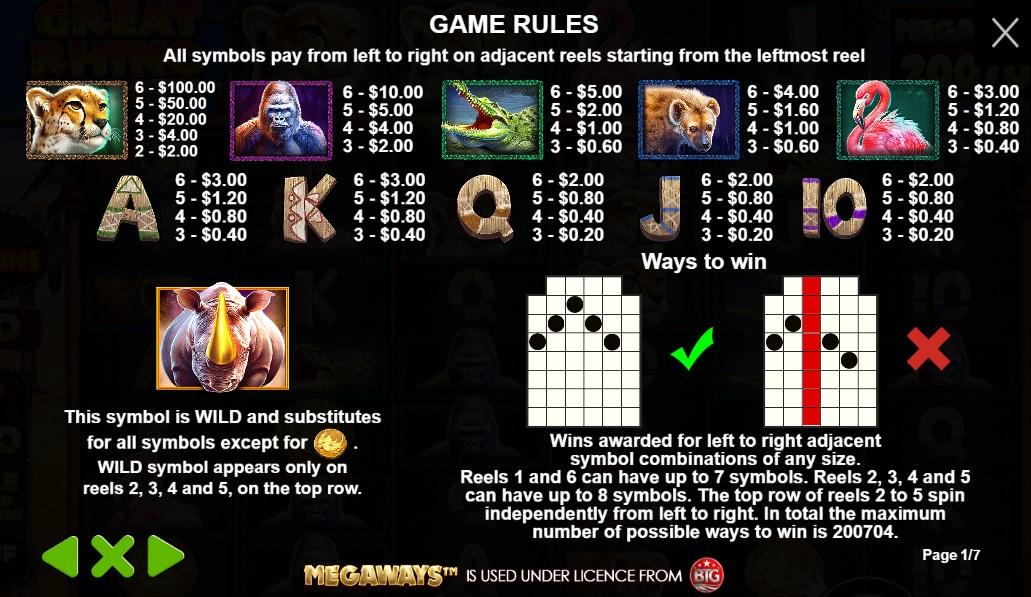 how to play great rhino megaways slot
