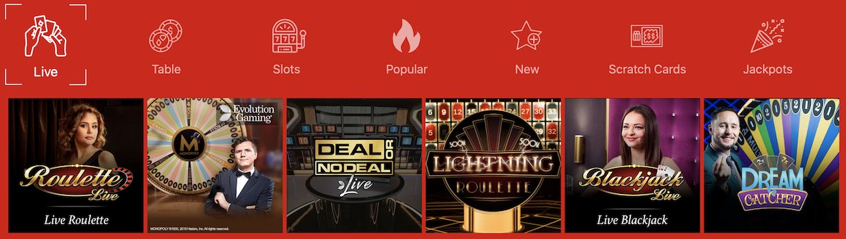 captain spins live casino games