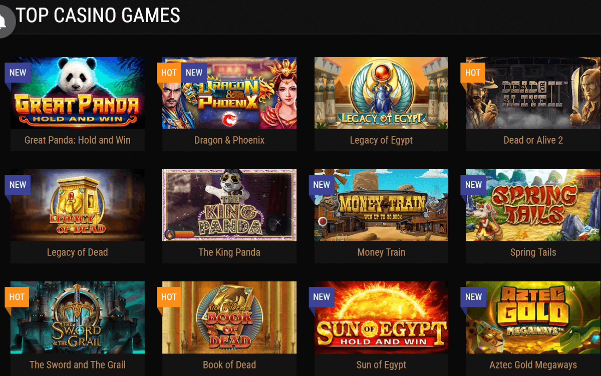 top casino games at King Billy