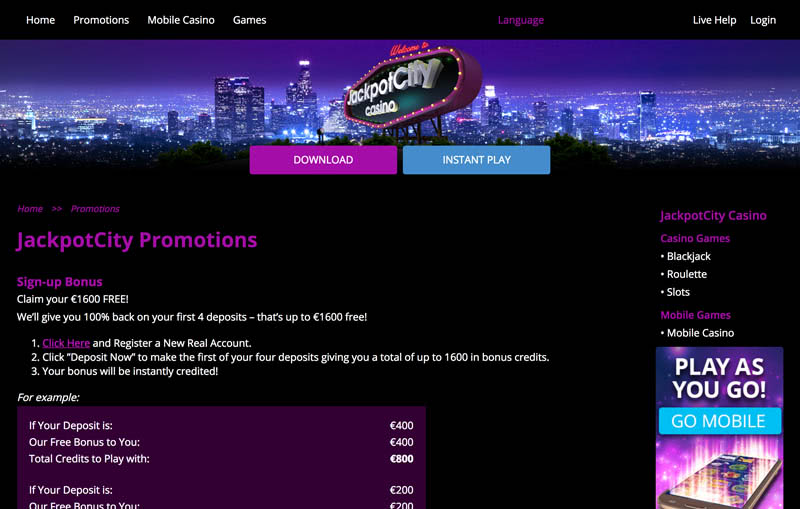online casino bonuses and big promotions