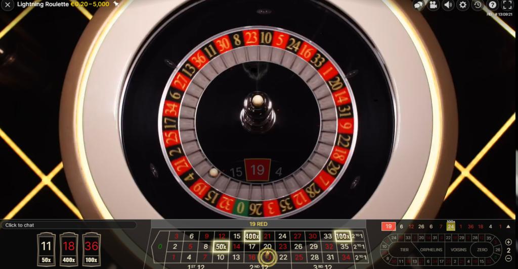 lightning roulette table