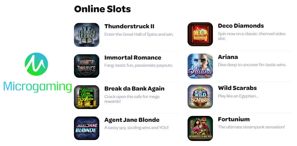 microgaming slots sites