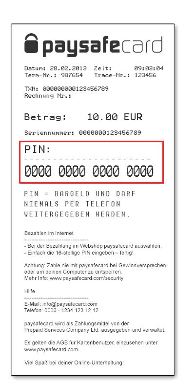 sample paysafecard ticket or voucher