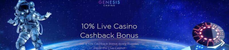 10% up to $200 in live casino cashback on Genesis