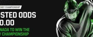 Get odds of +900 for Team Canada to win the WHC on Unibet