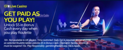 Earn $5 bonus cash daily just by playing live roulette on William Hill